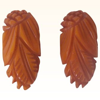 BAKELITE  Vintage Dress Clips Pair Carved Very Deeply Pineapple Carvings and Leaf Motif Mint and Unusual!