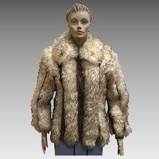 Fur Coat Lamb Leather Dino Ricco Jacket Designer Outerwear Womens Size L Vintage