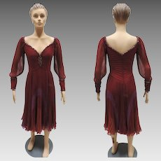 1980s Bob Mackie Couture Cocktail Dress Evening Frock Size 4-6 Vintage