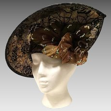 George Zamau'l Couture Hat Gold And Black With Rhinestones