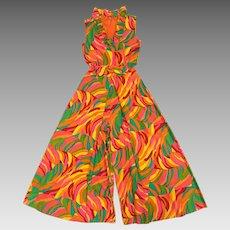 Hawaiian Palazzo Pants Jumpsuit Size M/L Lotus Fashions