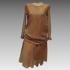 1920s Wedding Dress Nude Chiffon and Lace Authentic Flapper