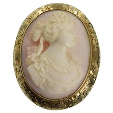 Antique Victorian Queen Conch Cameo Pendant and Brooch in 14k Yellow Gold