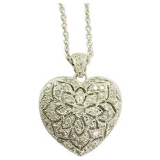 "Diamond Encrusted Heart Necklace in 10k White Gold ""I Love You"" 18"""