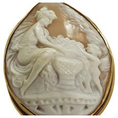 Large Cameo Cherub helping Goddess set in 14k Yellow Gold Brooch Pin Pendant