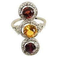 Vintage Garnet and Citrine Filigree Ring in 14k White Gold 3.70 Carats Size 9