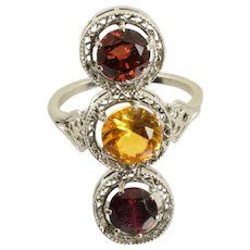 Vintage Garnet and Citrine Filigree Ring in 14k White Gold 3.70 Carats Size 9