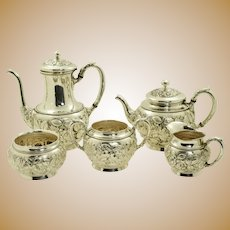 Schofield Co. Hand Chased Rose or Baltimore Rose Sterling Silver 5 Piece Tea Set