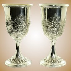 Kirk & Son Sterling Silver Hand Decorated Goblets 72F - Set of 2
