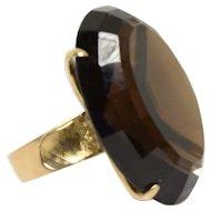 Vintage Smokey Quartz Ring 39.82 Carats in 14k Yellow Gold Size 6.5