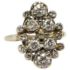 Vintage 1.30 ctw Diamond Cluster Cocktail Ring - 14k White Gold - SI1 F