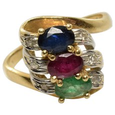 Vintage Ruby Sapphire Emerald and Diamond Ring in 14k Yellow Gold Size 6
