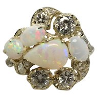 Vintage Opal & Diamond Ring in 14k White Gold 3.21 Carats - Size 5.5