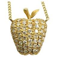 "Vintage Diamond Apple Necklace 14k Yellow Gold 1.40 Carats SI1 G 14.5"""