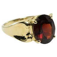 Garnet Solitaire Ring in 10k Yellow Gold 4.09 Carats Size 7