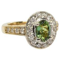 Vintage Green Tourmaline & Diamond Halo Ring 2.02 Carats 14k Yellow Gold Size 5