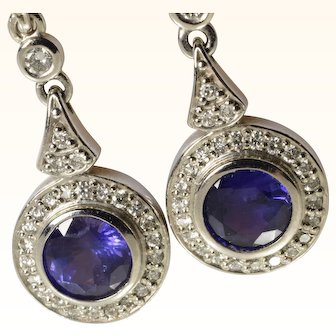 Vintage Sapphire & Diamond Dangle Earrings in 14k White Gold 2.63 Carats