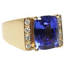 Tanzanite and Diamond 14k Yellow Gold Ring D Block 3.89 Carats Size 8