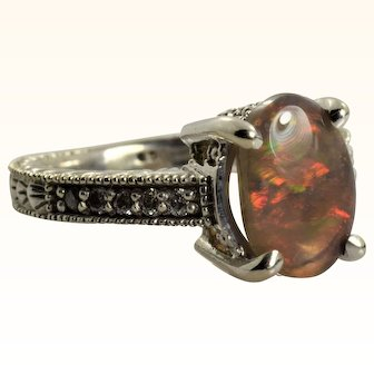 Vintage Black Opal & Diamond Ring in 14k White Gold Filigree 1.12 Carats Size 5.5
