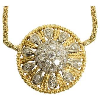 "UnoAErre .84 Carat Diamond Filigree Necklace 14k Yellow Gold SI1 G 15.25"""