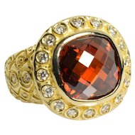 Vintage Garnet and Diamond Ring 14k Yellow Gold 5.50 Carats Size 5