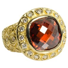 Vintage Garnet and Diamond Ring 14k Yellow Gold 5.50 Carats Size 5