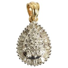 Diamond Cluster Pendant 1.56 Carats 10k White and Yellow Gold