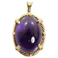 Amethyst Cabochon Pendant in 14k Yellow Gold 12.72 Carats