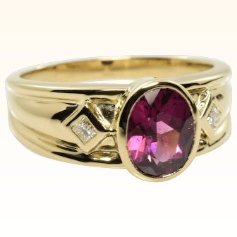 Pink Tourmaline and Diamond Vintage Ring in 14k Yellow Gold 1.22 Carats Size 9
