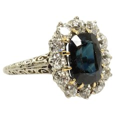 Antique Sapphire and Diamond Ring in 14k White Gold 3.57 Carats Size 5.5