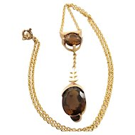 """Vintage Madeira Citrine Custom Made Necklace 7.67 Carats - 14k Yellow Gold - 15.75"""""""