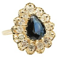 Natural Sapphire and Diamond Halo Ring in 14k Yellow Gold 3.18 Carats Size 9