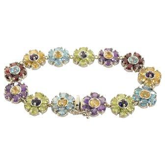 Flower Design Tennis Bracelet Multi Stone 14k White Gold 26.04 Carats 33.1 grams