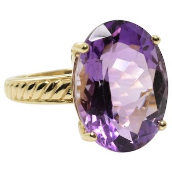Amethyst Cocktail Ring in 10k Yellow Gold 7.74 Carats Size 8