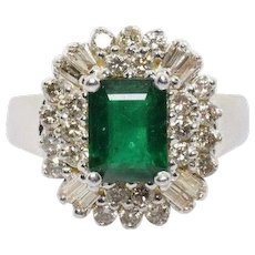 Vintage 2.40 Carat Natural Emerald and Diamond Halo Ring 14k White Gold Size 6