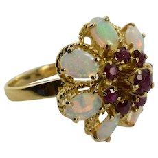 Ruby & Opal Princess Ring 1.84 Carats 18k Yellow Gold Size 8