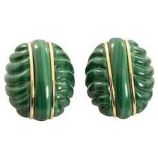 Vintage Malachite and 14k Yellow Gold Earrings 200 Carat HUGE - 43.3 grams