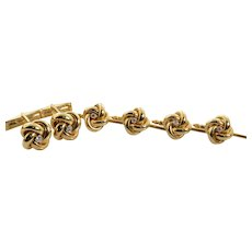 L&M Cufflink and Button Set Love Knot in 14k Yellow Gold with Diamonds