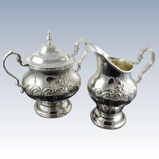 Gorham Chantilly Sterling Silver Sugar Bowl w/ Lid and Creamer - 1004/2 1003/2