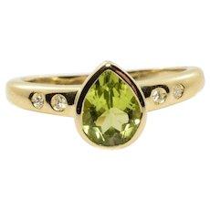 Peridot and Diamond Ring in 14k Yellow Gold 1.28 Carats Size 8.5