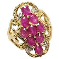 Ruby and Diamond Filigree Ring in 14k Yellow Gold Size 6
