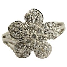 Diamond Flower Ring in 14k White Gold .53 Carats Size 7