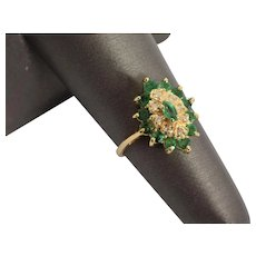 Vintage .86 Carat Emerald and Diamond Ring in 14k Yellow Gold Size 6