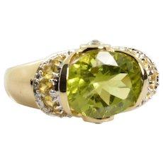 Peridot Citrine Diamond Ring 3.86 Carats in 14k Yellow Gold Size 7