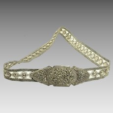 Vintage Sterling Silver Belt with Floral Design Adjustable Length 380.8 grams