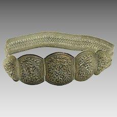 Vintage Sterling Silver Belt with Floral Design Adjustable Length 628.9 grams