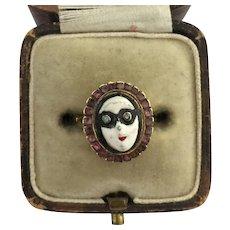 A Magnificent Rare Georgian Masquerade Ball Face Ring Ring Circa 1800's