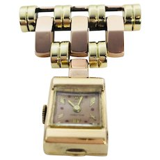 14k YG Welsbro Nurses Watch Brooch