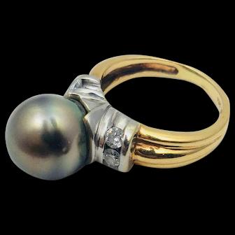 Classic 14K 2T Tahitian Pearl and Diamond Ring