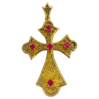 18k Yellow gold and synthetic ruby Fancy Cross.